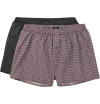 Hanro Two Pack Cotton Boxer Hort Gray