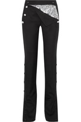 Monse Embellished Stretch Wool Blend Twill Flared Pants Black
