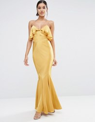 Asos Cami Ruffle Front Maxi Dress With Fish Tail Gold