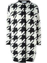Gianluca Capannolo Houndstooth Pattern Cardi Coat Black