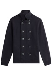 Vince Wool Double Breasted Cardigan Blue