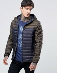 Scotch And Soda Quilted Jacket With Colour Block In Navy Navy