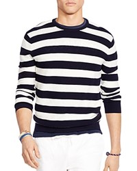Polo Ralph Lauren Striped Cotton Blend Sweater Navy White