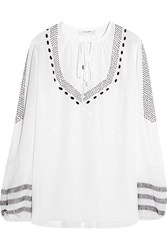 Altuzarra Embroidered Silk Crepe De Chine Blouse White