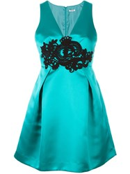 P.A.R.O.S.H. Lace Applique Satin Dress Green