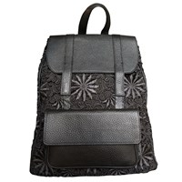 Funlayo Deri The Delphine Guipure Lace And Leather Backpack Black