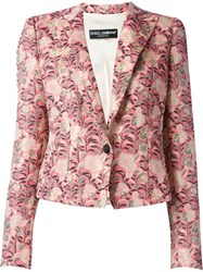Dolce And Gabbana Floral Jacquard Blazer Pink And Purple