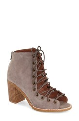 Women's Jeffrey Campbell 'Cors' Suede Peep Toe Bootie Taupe Suede