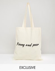 Reclaimed Vintage Tote Bag Young And Poor Beige