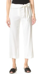 Veronica Beard Imperial Cropped Tie Waist Pants Ivory