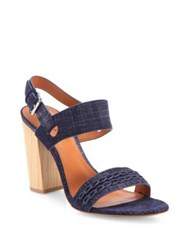 Derek Lam Mandy Denim Block Heel Slingback Sandals Indigo