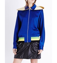 J.W.Anderson Jw Anderson Hooded Silk Satin Bomber Jacket Royal Blue