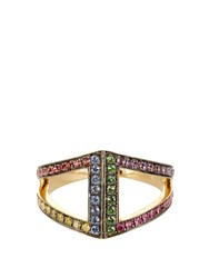 Noor Fares Diamond Sapphire Ruby And Yellow Gold Ring Multi