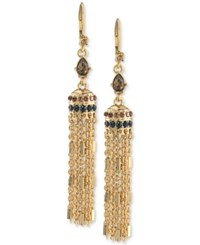 Carolee Gold Tone Crystal Enhanced Tassel Drop Earrings