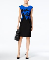 Connected Floral Print Belted Sheath Dress Blue Black