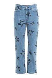 Etre Cecile Star Embroidered Cropped Jeans Blue