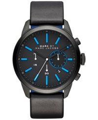 Marc By Marc Jacobs Men's Chronograph Dillon Black Leather And Blue Silicone Strap Watch 44Mm Mbm5096