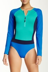 Spanx Long Sleeve Colorblock One Piece Swimsuit Blue