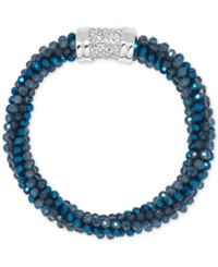 Anne Klein Bead And Crystal Pave Bracelet Blue