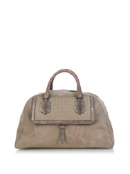Bottega Veneta Snakeskin Crocodile And Suede Bowling Bag