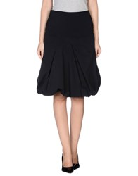 Manila Grace Denim Knee Length Skirts Black