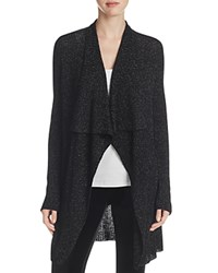 Eileen Fisher Metallic Ribbed Drape Front Cardigan Black