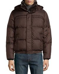 Marc By Andrew Marc New York Men's Faux Fur Quilted Bomber Jacket Espresso Brown