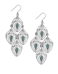 Lucky Brand Pave Peacock Feather Patterned Chandelier Earrings Silver