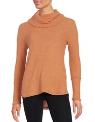 Design Lab Lord And Taylor Cowlneck Waffle Knit Top Rust