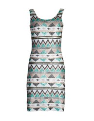 Aftershock Tawnya Embellished Aztec Print Dress Black White