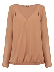 Oasis Wrap Front Draped Blouse Camel