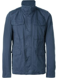 Woolrich Loose Zip And Button Up Jacket Blue