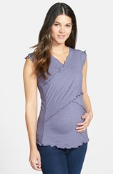 Women's Japanese Weekend Maternity Cross Front Nursing Top Boysenberry