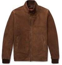 Isaia Suede Bomber Jacket Brown
