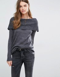 Jdy J.D.Y Off The Shoulder Knit Jumper Dark Grey Melange1 Black
