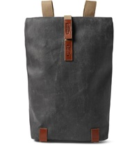 Brooks England Pickwick Small Leather Trimmed Canvas Backpack Gray