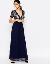 Club L Lace Scallop Maxi Dress Navynudelining