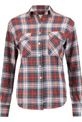 R 13 R13 Zip Detailed Check Cotton Blend Flannel Shirt Red