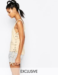 Story Of Lola Drop Armhole Vest With Lace Up Detail Nude Beige