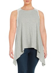 Vince Camuto Plus Lace Trimmed Asymmetrical Tank Top Grey