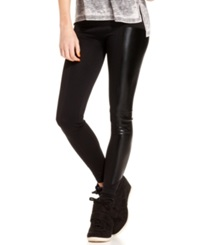 Material Girl Juniors Pants Faux Leather Leggings Caviar Black
