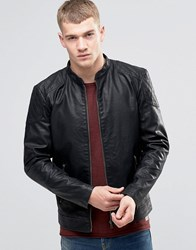 Jack And Jones Faux Leather Jacket With Stitch Shoulder Panel Black