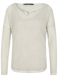 Oui Double Layer Batwing Mesh Jumper Light Grey