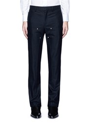 Givenchy Rivet Patchwork Panel Wool Flannel Pants Black