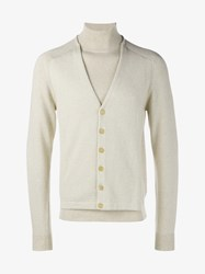 Maison Martin Margiela Cotton Wool Blend Knitted Layered Cardigan Cream White Linen