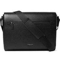 Michael Kors Harrison Large Cross Grain Leather Messenger Bag Black