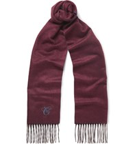 Canali Double Faced Silk And Cashmere Blend Scarf Burgundy