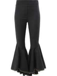 Ellery Cropped Ruffled Trousers Black