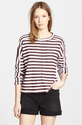 Madewell Stripe Pullover Sweatshirt Red Rock