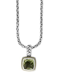 Effy Collection Balissima By Effy Green Amethyst 4 Ct. T.W. Pendant Necklace In 18K Gold And Sterling Silver